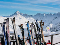 A rack packed with skis. Ski resort Livigno Royalty Free Stock Photography