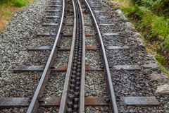 Rack and pinion railway on snowdon Stock Photos