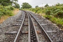 Rack and pinion railway on snowdon Stock Photo