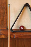 Rack and pool ball for billiards. Royalty Free Stock Photo