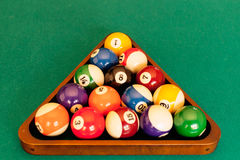 A rack of pool balls Royalty Free Stock Images
