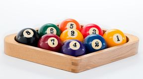 Rack of pool balls set up for a game of nine ball Stock Photos