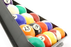 Rack of pool billiard balls. Against a white background Stock Photos
