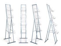 Rack for promotional materials from different angles. Stock Image