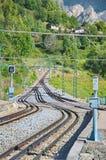 Rack railway railroad tracks in Vall de Nuria, Spain Stock Photos