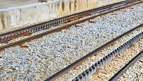 Rack railway railroad tracks in Vall de Nuria, Spain Stock Photography