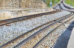 Rack railway railroad tracks in Vall de Nuria, Spain Royalty Free Stock Image