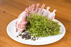 Rack of Raw Lamb Stock Photo