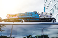 Rack on roof with luggage stacked Stock Images