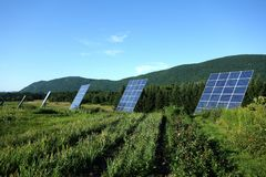 Solar Tracker Panels Rural Mountains Royalty Free Stock Image