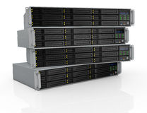 Rack server. Front view of four server racks with nine hd slots, powered on (3d render Stock Photo