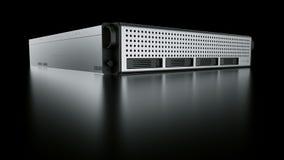 Rack server. 3d rendering of a rack server on black reflective ground Royalty Free Stock Image