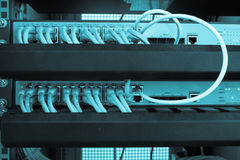 Rack Server Internet Connected with LAN cables. Royalty Free Stock Photo