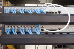 Rack Server Internet Connected with LAN cables. Royalty Free Stock Images