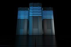 Rack servers. 3d rendering of futuristic servers