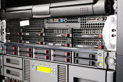 Rack servers. Rack mounted equipment, system storage and servers Royalty Free Stock Photo