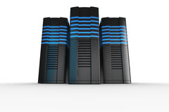 Rack servers on white background. 3d rendering of futuristic servers on a white background Stock Photography