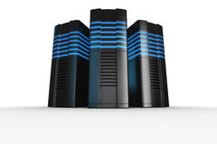 Rack servers on white background. 3d rendering of futuristic servers on a white background Royalty Free Stock Images