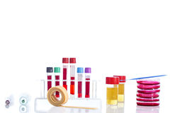 Rack with several tubes  blood , plates petri and the background   urine samples in the laboratory Royalty Free Stock Photos