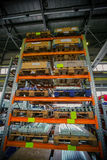 Rack. Shelving for storage of various instruments on production royalty free stock photography