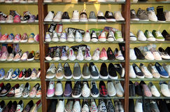 Rack of shoes Stock Images
