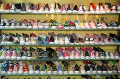 Rack of shoes Royalty Free Stock Photography