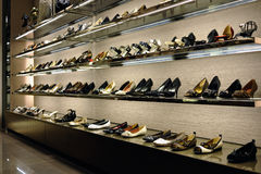 Rack of shoes stock photography