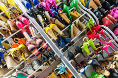 Rack with shoes on heels Stock Images
