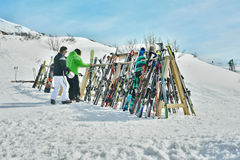 Rack of ski equipment Royalty Free Stock Photography