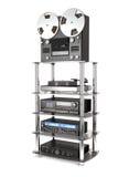 Rack with sound radio equipment 3d illustration. Stock Photo