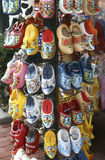Rack of souvenir wooden shoes in Amsterdam Royalty Free Stock Image
