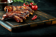 Rack of spicy barbecued chili spare ribs Royalty Free Stock Photo