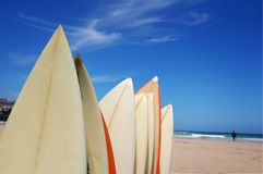 Rack of Surfboards. A rack of surfboards on a beach Stock Photos