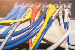 Rack Switches or Network panel switch and cable in data center Royalty Free Stock Image