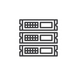 Rack units, servers line icon, outline vector sign, linear style pictogram isolated on white. Stock Photography