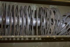 Rack of vintage movie reels Royalty Free Stock Photos
