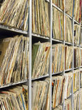 Rack of vinyl records Royalty Free Stock Photo