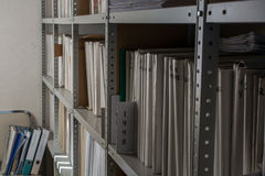 Rack witch folders in archive Stock Photography