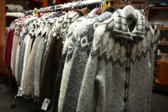 Rack of wool sweaters Royalty Free Stock Image