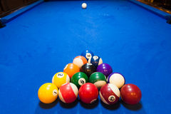 Racked Balls on a Pool Table Royalty Free Stock Images
