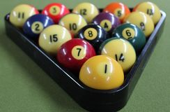 Racked billiards balls stock image