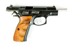 Racked black slide of handgun royalty free stock photography