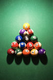 Racked Pool Balls. Overhead view of racked pool balls on pool table. Vertical shot Royalty Free Stock Image