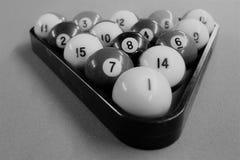 Black and white billiards balls stock image