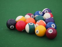 Racked Pool Balls in a Triangle Stock Photography