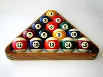 Racked and Ready. A triangle of numbers, in perfect order Royalty Free Stock Images