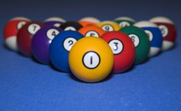 Racked And Ready. Billiard balls that are ready for play Royalty Free Stock Photography