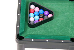 Racked and ready. Pool balls racked and ready for a game as a great relaxating after hours sport with friends - path included Stock Photo