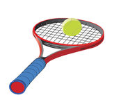 Racket. Accessory for playing in the tennis. Racket and ball Stock Image