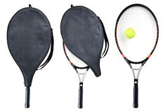 Racket. Three tennis rackets isolated on white. Clipping path Stock Photo